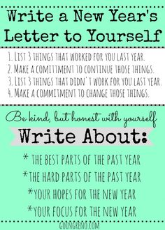 Start a New Year's Tradition of writing a letter to yourself, to open the fo. - Random Up New Year Goals, New Year New Me, New Years 2016, Year 2016, 20 Years, Journal Prompts, Writing Prompts, Bujo, Planners