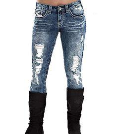Keephen Pantalones Vaqueros Desgastados de Cintura Baja Pantalones de  Mezclilla de algodón Pantalones Vaqueros de Mezclilla Rotos Rasgados para  Mujer d98eba0a865a