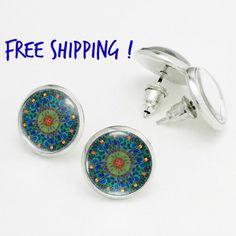 Sea Green Summer Earrings. Beach Blue and Green Kaleidoscope Studs, Nickel Free Stud Earring, Silver Stud Earrings KSZ02R10K05S