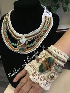 Hand-crocheted beaded cuff bracelet by NIArtStudio on Etsy