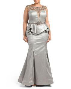 Plus Illusion Beaded Peplum Gown - Plus Dresses - T.J.Maxx