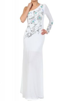 White Full Length Embellished Long Single Sleeve Dress