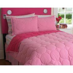 your zone reversible comforter and sham set, pink stitch - Walmart.com