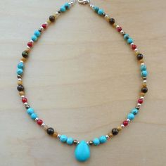 Every Morning Design Turquoise and Tiger Eye Necklace   Overstock.com Shopping - The Best Prices on Necklaces