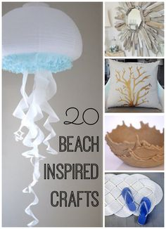 20 beach crafts you can make yourself! In order to add a touch of beach living to your house, here are 20 beach inspired crafts that can help bring you back to the beach. (I recommend working on these with sand in your shoes!) Great for summer!