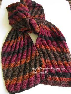 Magia do Crochet: Cachecol ondulado em tricot, sem avesso e com rece...