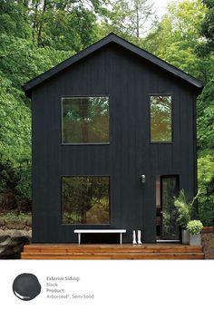 Benjamin Moore + black exterior paint + home + dream house + go dark Exterior Paint Colors, Exterior House Colors, Exterior Design, Exterior Stain, Paint Colours, Haus Am See, Black House Exterior, Dark House, House Painting