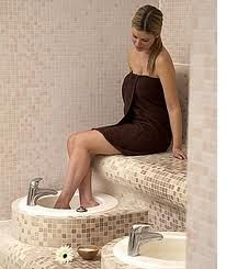 His and Her footbaths in a wet room.  Could I use that after a day at work! YES YES YES I WANT THIS!! Amazing idea