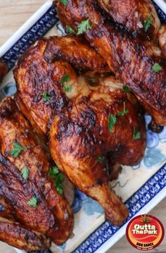 This recipe for Oven Baked BBQ Chicken works beautifully with any bone-in chicken pieces. Half Chickens make elegant dinner party food. I'd use a different BBQ sauce Oven Baked Bbq Chicken, Half Chicken, Chicken Works, Baked Chicken Quarters, Baked Chicken Pieces, Baked Bone In Chicken, How To Bbq Chicken, Recipes With Chicken Leg Quarters, Chicken With Bone Recipes