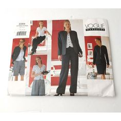 Vogue Wardrobe suit, jacket skirt, blouse, pantsSize 12 14 complete uncut factory folded pattern with instructions. Light wear to envelopeActual item in photographsShipping is first class tracked.See our other Sewing Patterns Sewing Patterns, Size 12, Vogue, Suits, How To Wear, Jackets, Gift, Fun, Suit Jacket