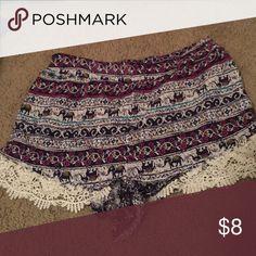Elephant tribal shorts Super soft with lace trim shorts Shorts