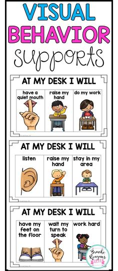 Visual behavior supports for students that need visual reminders of behavior expectations either at their desk or seat. Also included within this product is key ring visuals and break cards for students.
