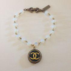 Black Chanel Button Bracelet