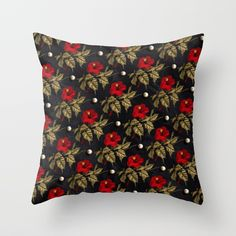 Red and Gold Hibiscus with Pearls Pattern by Peter Gross  Throw Pillow made from 100% spun polyester poplin fabric, a stylish statement that will liven up any room. Individually cut and sewn by hand, each pillow features a double-sided print and is finished with a concealed zipper for ease of care.  Sold with or without faux down pillow insert.