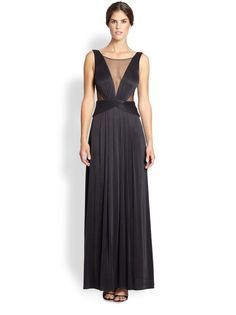 NWT 358 BCBG DRESS LONG GOWN BLACK SHEER PANEL S (4 6)  MAGDALENA #BCBGMAXAZRIA #Formal