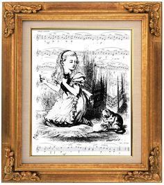 Snowdrop Kitten, Alice in Wonderland , Sheet Music Art, Book Art, Dorm Room, Wall Decor, Baby Room Art, Kids Room, Cat Art, Kitten Art