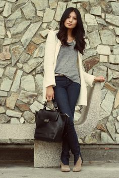 f/w casual inspiration, color inspiration - jeans, a t-shirt, booties, and a jacket in coordinating neutrals.