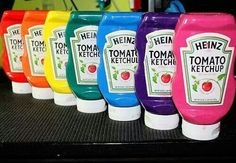 Homemade paint - 1 cup flour, 1 cup salt, 1 cup water and food coloring! Reuse bottles from around the house to store it and it's practically free!