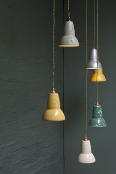 Collection of anglepoise shades from Retrouvius Reclamation and Design