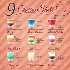 Nine Popular Alcohol Shots Recipes And Illustrations On Vintage. Royalty Free Cliparts, Vectors, And Stock Illustration. Image Vector - Nine popular alcohol shots recipes and illustrations on vintage background Alcohol Shots, Alcohol Drink Recipes, Jello Shot Recipes, Vodka Shots, Easy Shot Recipes, Margarita Jello Shots, Shooter Recipes, Party Drinks Alcohol, Mixed Drinks Alcohol
