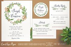 Printable Wedding Invitation DIY Wedding by CoralLanePaper on Etsy