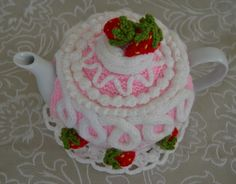 Strawberry Cake Tea Cosy via Craftsy