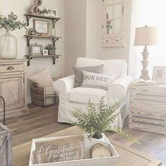 42 Cozy Shabby Chic Living Room Decorating Ideas , Shabby Chic is all of the rage. Shabby chic can readily be confused with the farmhouse style since it is normal to come across distressed, antique or . French Country Living Room, Shabby Chic Living Room, Chic Living Room, Living Room Decor Country, Living Decor, Rustic Living Room, Rooms Home Decor, Farm House Living Room, Beautiful Living Rooms