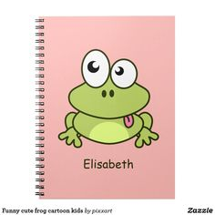 Funny cute frog cartoon kids spiral notebook