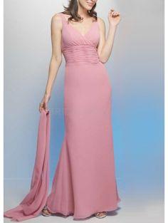 V-Neck Wrap Satin Chiffon Beaded Floor Length Mother Of Bride And Groom Dress