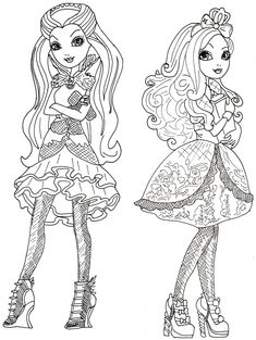 ... Ever After High Coloring Pages: Raven Queen and Apple White Coloring