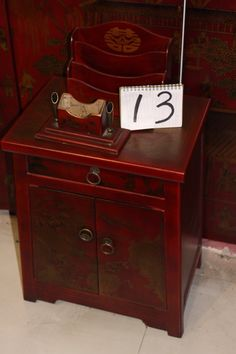 Hand painted elm wood side cabinet from Beijing, China