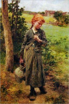 """""""Retour de la Fountaine"""" -- by Léon Augustin Lhermitte (French, 1844–1925)"""