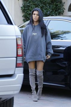 slouchy grey suede knee high boots kardashian - Google Search