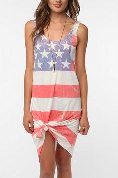 BDG Knit Flag Print Tank Dress Online Only