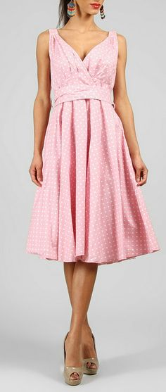 Dust Pink Polka Dot V-Neck Dress. love the shape, but I would use a different print/fabric/color