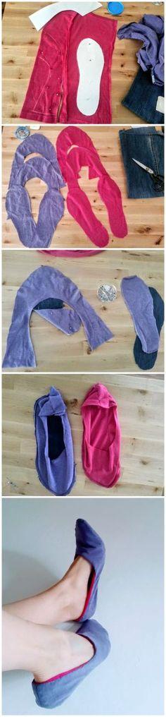 Staré tričká netreba vyhadzovať, staré tričká treba rozumne použiť, napríklad na takéto papuče-tichošlapky:)))