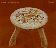 Wooden stool hand-painted with acrylic upon the handmade craquelure, varnished with gloss. Sea Flowers, Wooden Stools, Mixed Media Painting, Top View, Decorative Objects, Painting & Drawing, Framed Art, Hand Painted, Gift Ideas