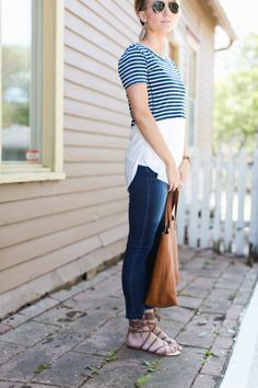 Love everything about this look, but I don't think I could pull off the sandels. ONE little MOMMA: Summer Stripes
