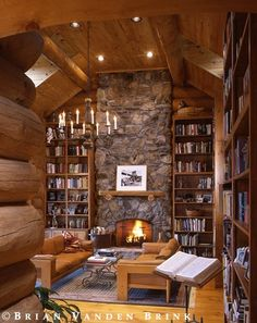 Rustic, homey sitting room/library idea