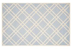 One Kings Lane - Go for Graphic - Campus Rug, Light Blue/Ivory