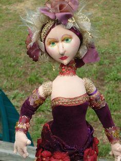 Hand Sculpted Cloth Art Doll In Red Valentine Velvet