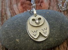 Barn Owl Necklace in fine silver and sterling by katherinesheetz, $68.00