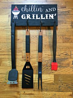 **These are custom designed and are not ready to ship. Anything ordered after December 1st are not guaranteed to arrive for Christmas. Orders are taking 2-3 weeks to ship  Chillin and Grillin Wood Sign. All of you grill masters need one of these BBQ utensil holder signs for your deck, beach house or lake house then youll be able to do the perfect grilling! These barbecue grill signs make the perfect Fathers Day gift for your dad or hubby or for any man in your life! Sign is made with…