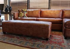 Amazon.com - Phoenix 100% Full Aniline Leather Sectional Sofa with Chaise (Vintage Amaretto) - Sectional Sofa Analine Leather