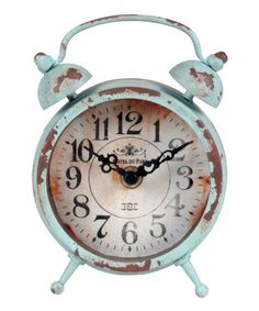 Product: ClockConstruction Material: Metal and glassColor: Distressed blueAccommodates: Batteries - not includedDimensions: 6 H x 5 W x 2 D Housewarming Wishes, Blue Clocks, Metal Clock, Clock Wall, Shaby Chic, Vintage Love, Vintage Style, Decorative Accessories, House Warming