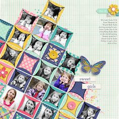 Scrapping with Liz: My February Pages: Paper Piecing Templates by Scrapping with Liz My Girl by Megan Turnidge