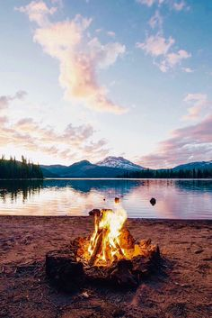 Fire by the lake....looks like a fun time