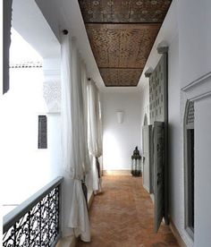 Antique zouaki ceiling from the balcony of Riad Idione in Marrakech