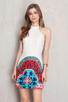 Vestido estampado marselha abertura lateral | Dress to