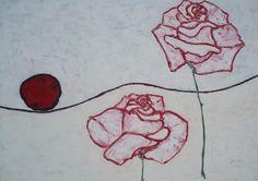 """Hansulrich BURKHARD """"Rote Sonne und Rote Rosen"""" Acryl auf Leinwand 100x100cm"""